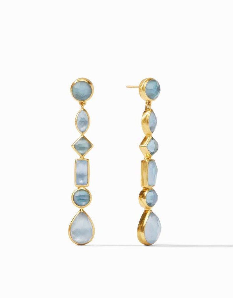 Savannah Statement Earring Gold Iridescent Azure Blue
