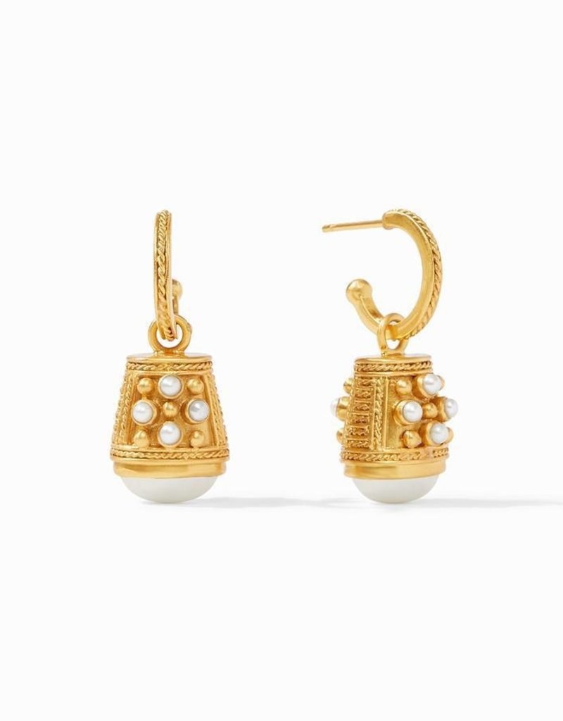 Paris Bell Charm Earring Gold Pearl