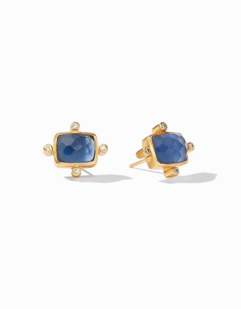 Clara Stud Gold Iridescent Saphire Blue