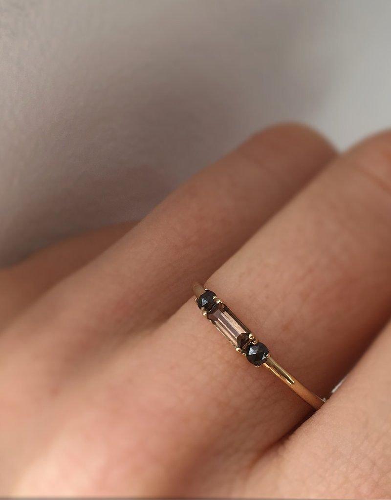 Smoky Quartz and Black Diamond Baguette Crush Ring