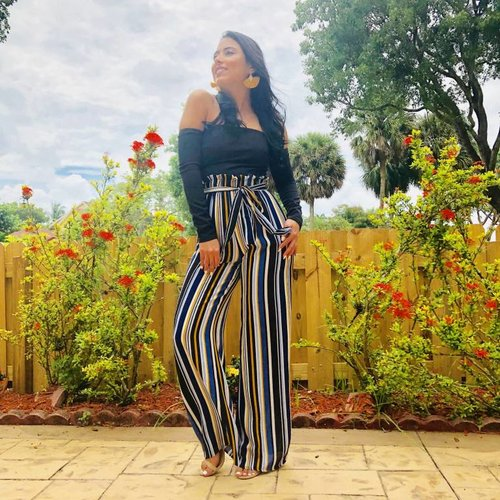 Striped Jumpsuit Strapless With Sleeves