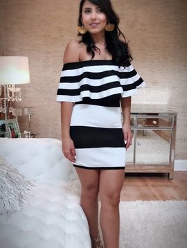 Sexy Off The Shoulder Striped Bandage Dress