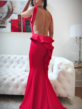 Sexy Ruffle Back Maxi Dress