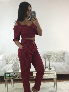 Chic Striped Pants and Crop Top Two Piece Set