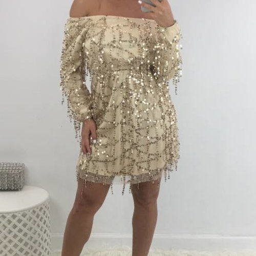 Chic Sequin Dress Off The Shoulder