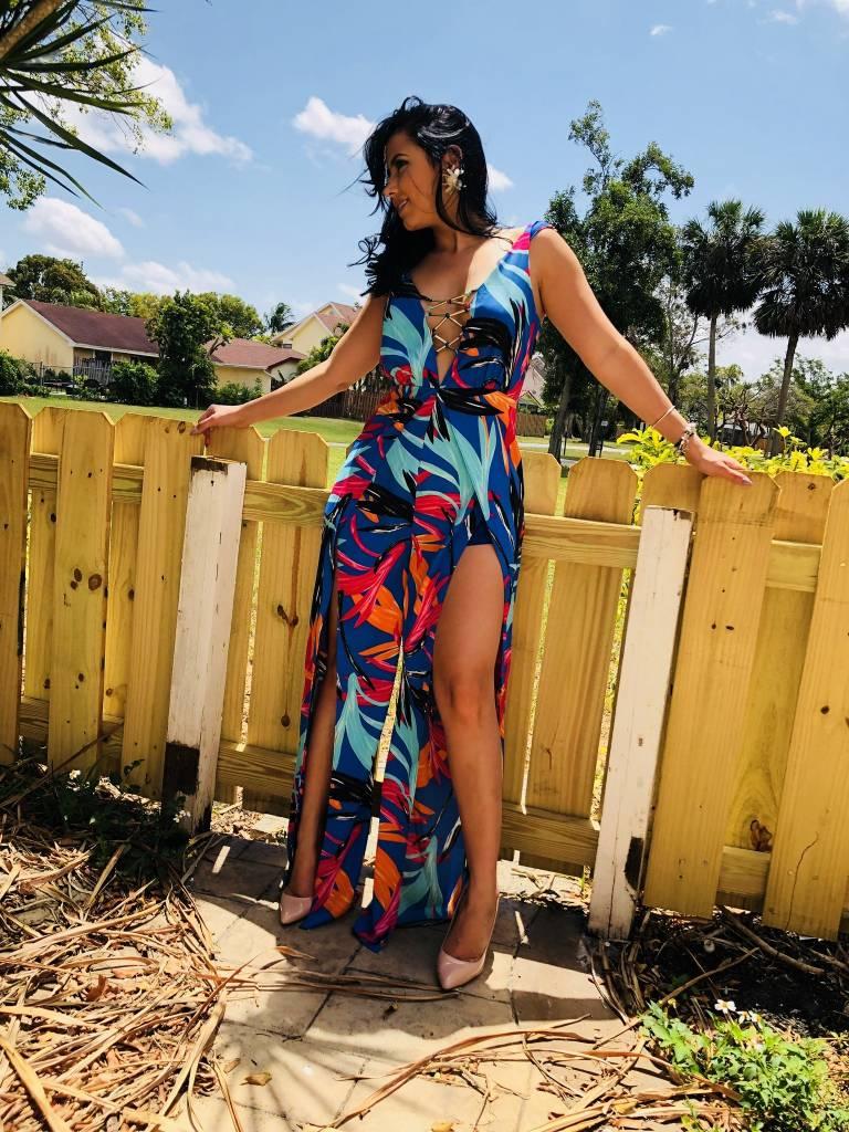 Tropical Print Jumpsuit