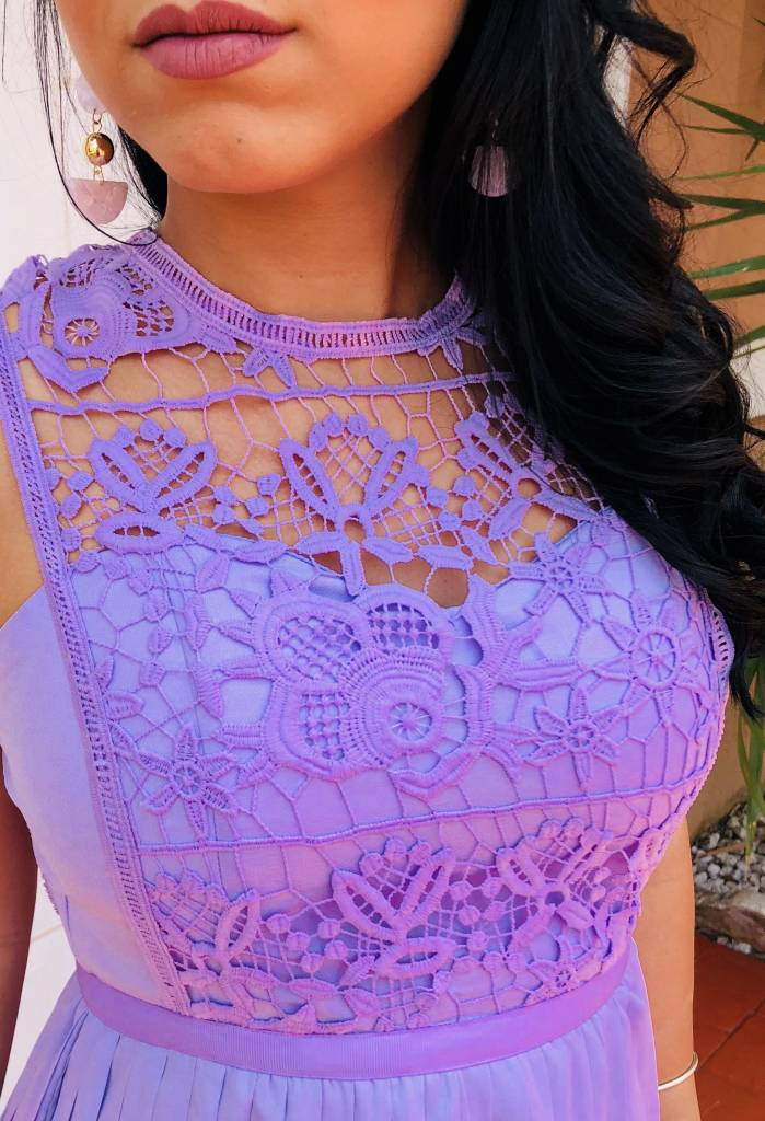 Chic Crochet Top With Pleated Skirt Dress