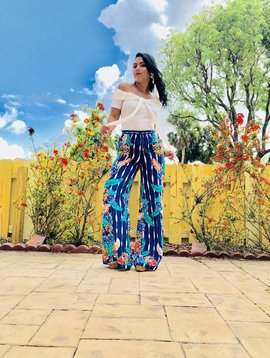 Palazzo Pants With Leaf Print