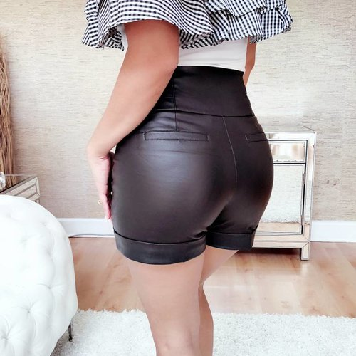 Sexy High Waisted Leatherette Shorts