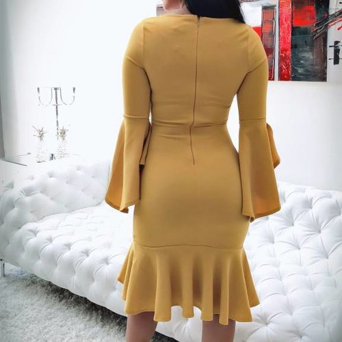 Chic Ruffle 3/4  Sleeves Dress