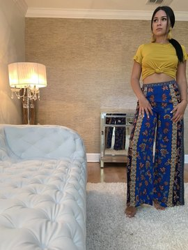 Chic Palazzo Pants W/ Floral Print