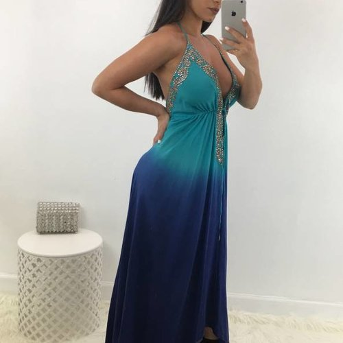 Sexy Embroidered Hi Low Dress