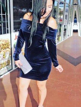Chic Velvet Off Shoulder Dress