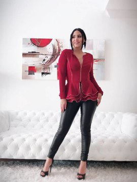 Chic Peplum Jacket W/ Zipper Trim