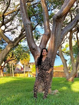 Chic Leopard Jumpsuit With Front Pockets and Waist Band