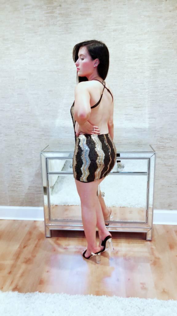 Sexy Sequin Open Back Mini Dress