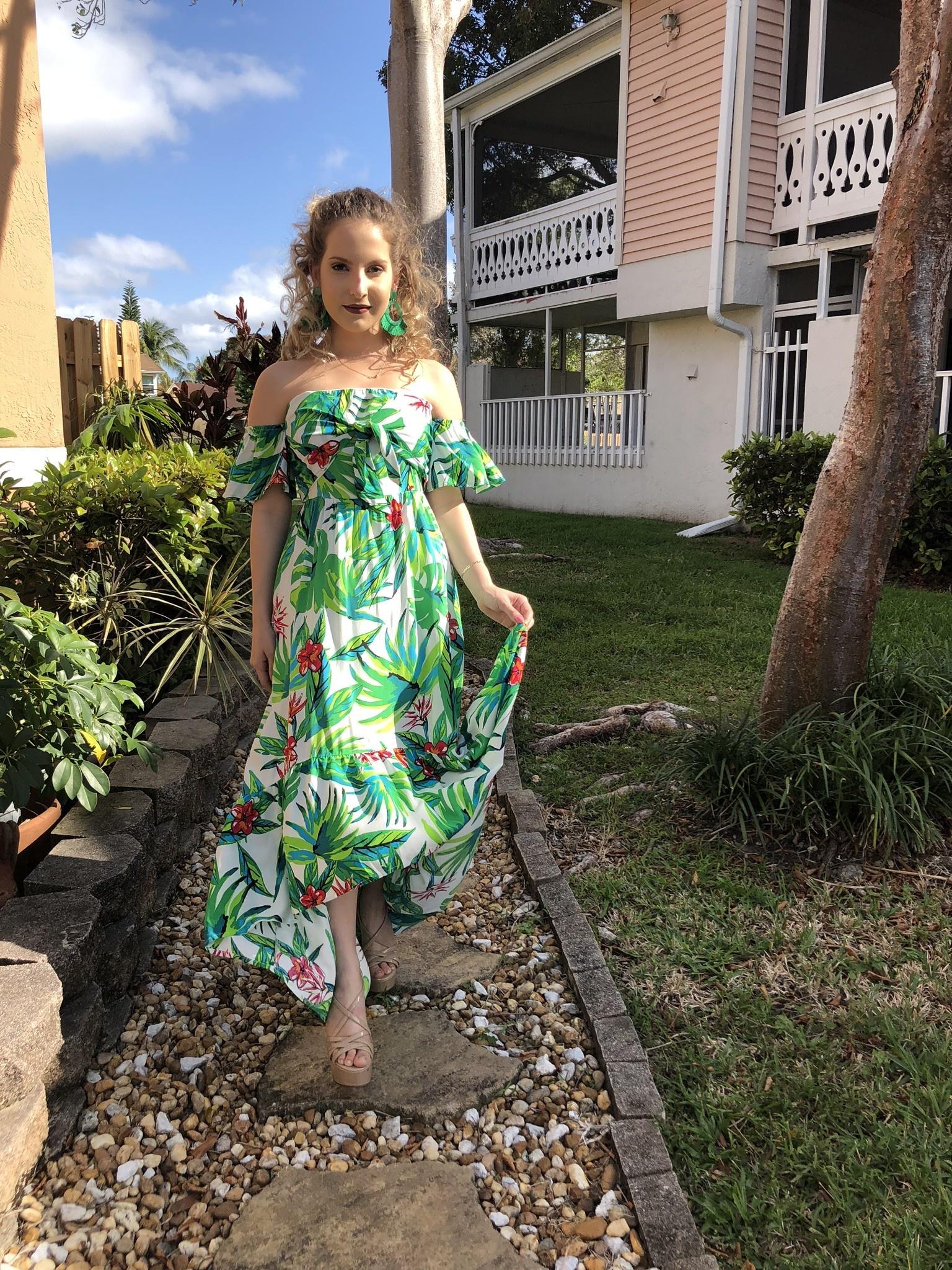 4132fb591a0ac Sexy Off Shoulder High Low Tropical Print Dress