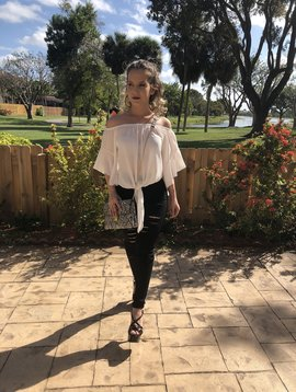 Chic Off Shoulder With Ruffle Sleeves