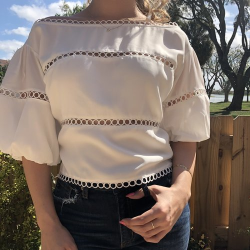 Sexy Lace Insert Off Shoulder Top
