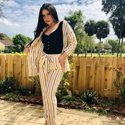 Casual Striped Linen Pants With Tie Belt