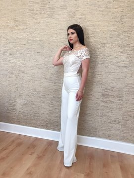 Sexy Lace Off Shoulder Short Sleeves Jumpsuit