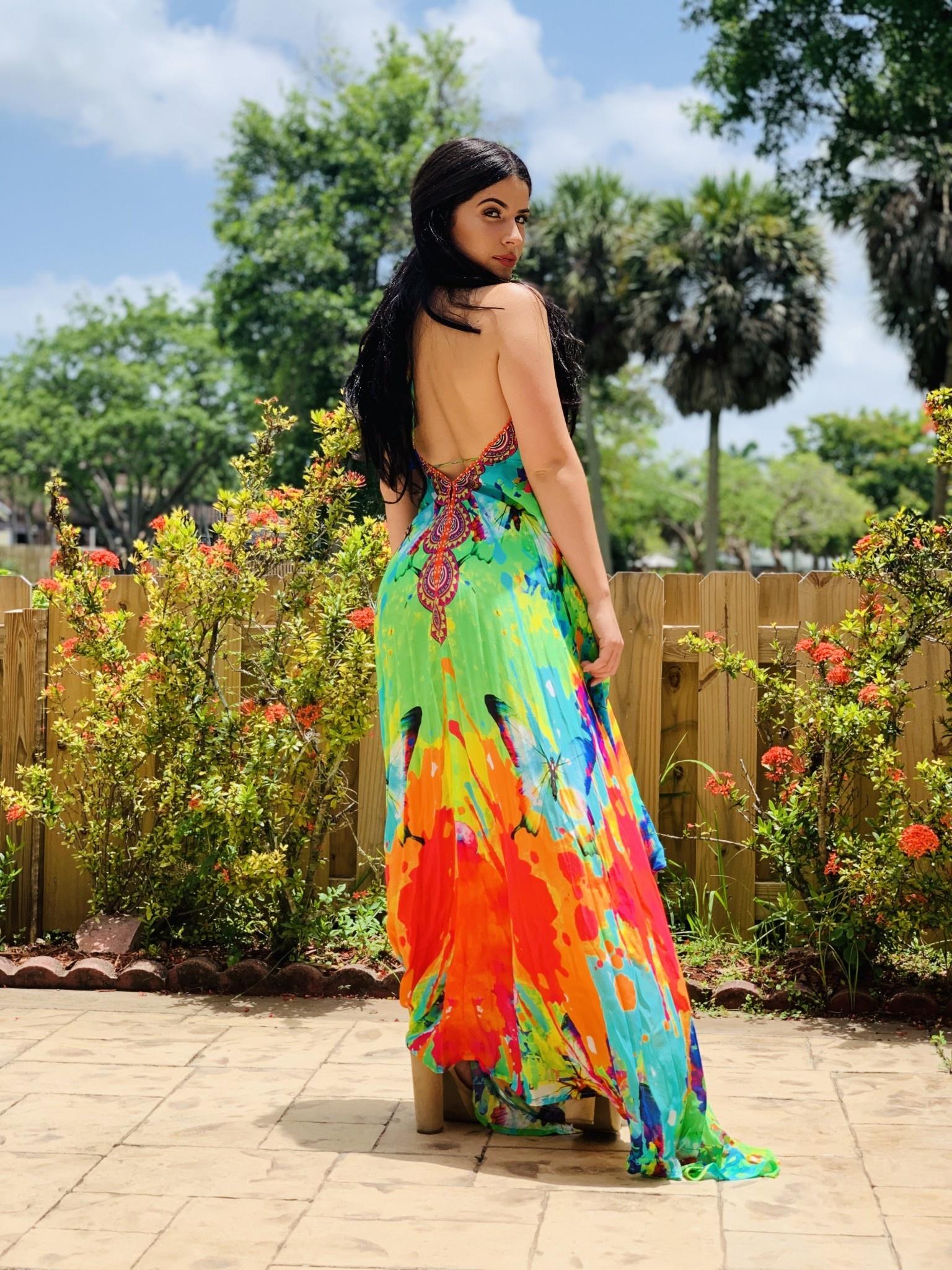 Sexy Hi Low Butterfly Muiti Color Dress