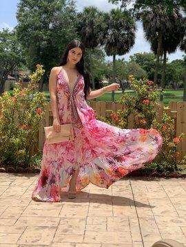 Sexy Hi Low Flower Maxi Dresss