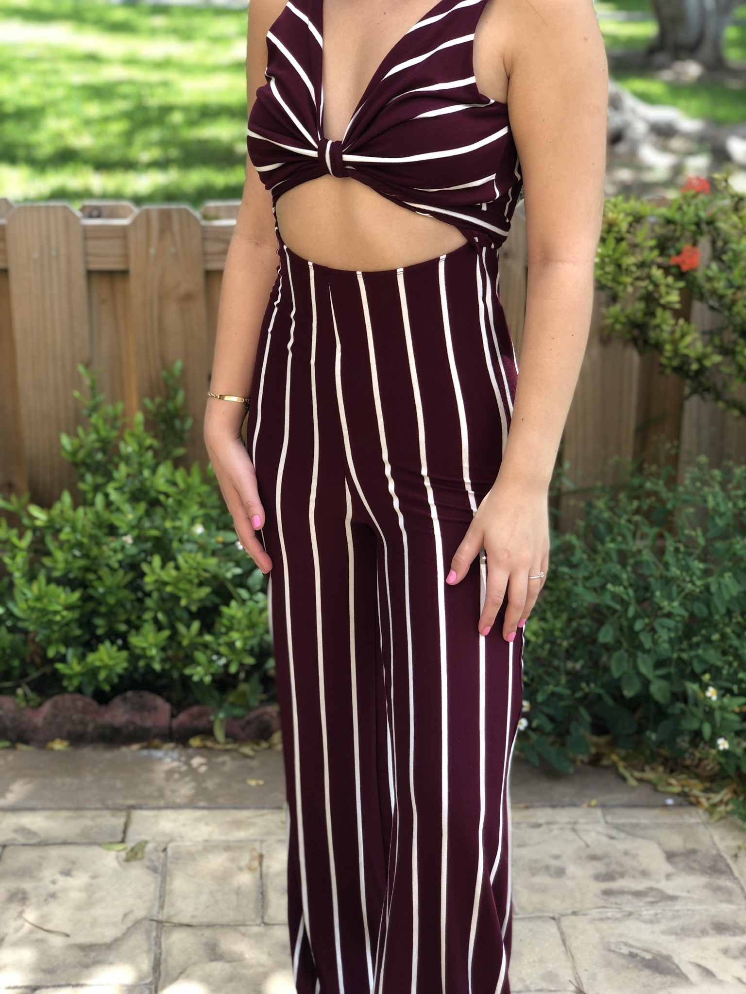 Sexy Tie Front Striped Jumpsuit