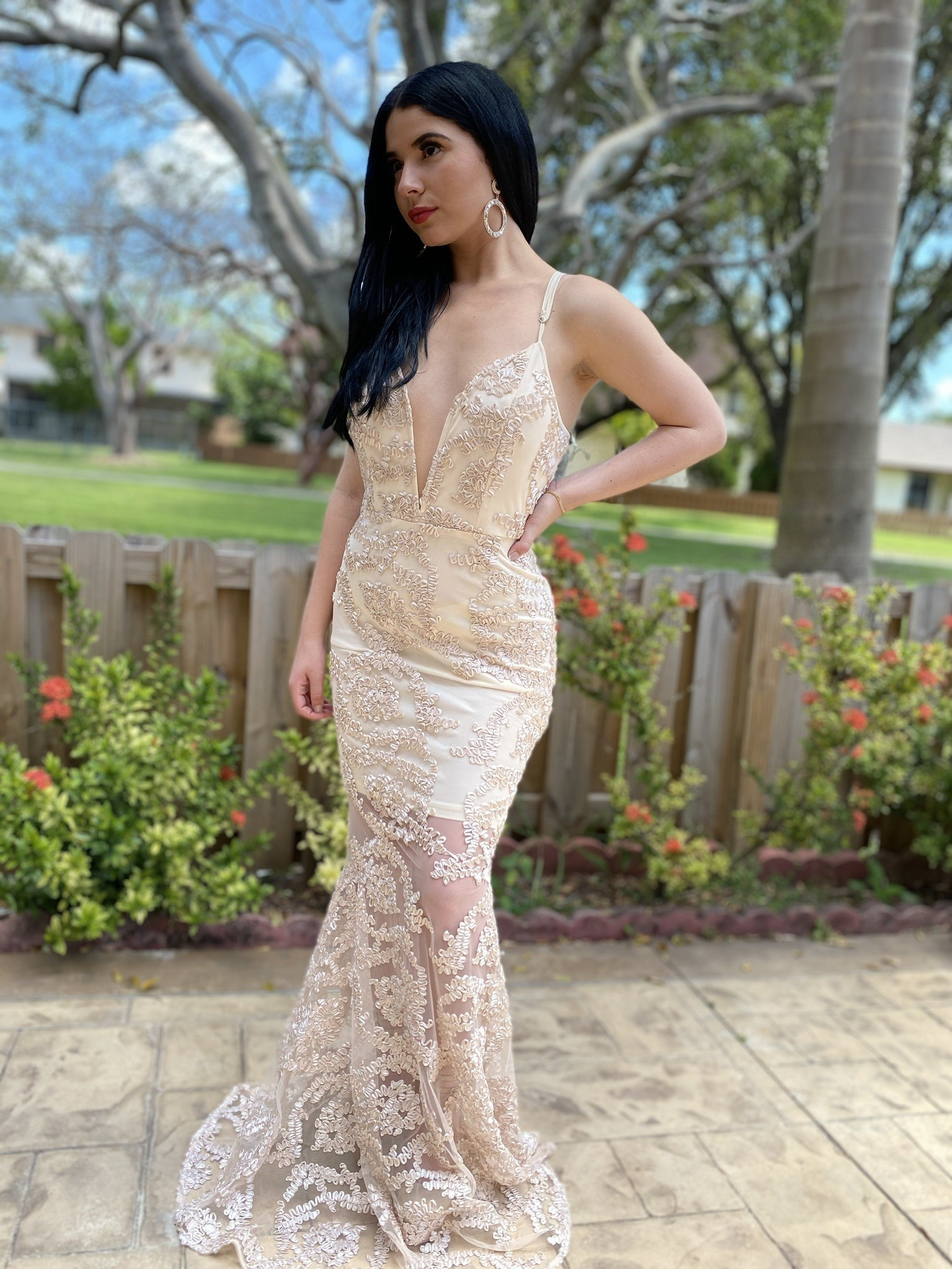 Embroidered Mesh Long Dress