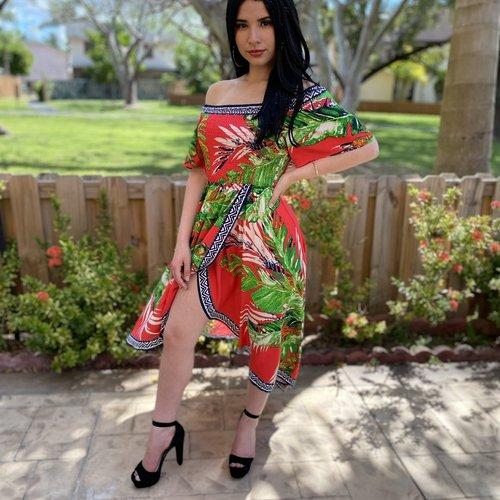 Printed Hi Low Off Shoulder Dress