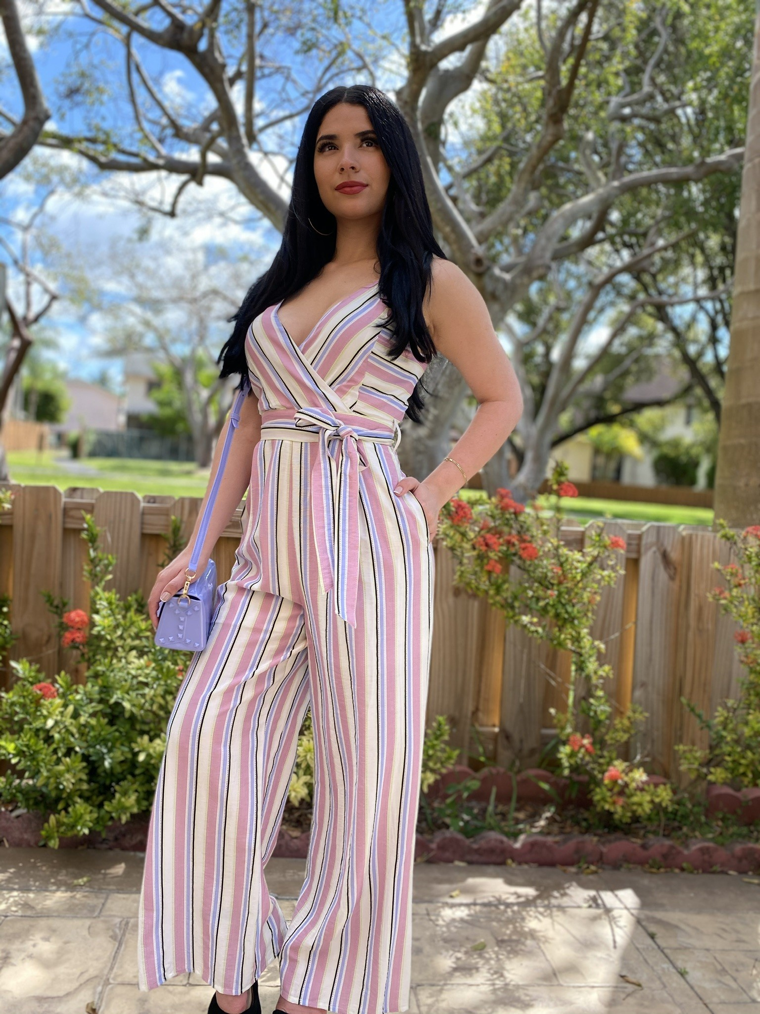 Striped V- Neck Jumpsuit