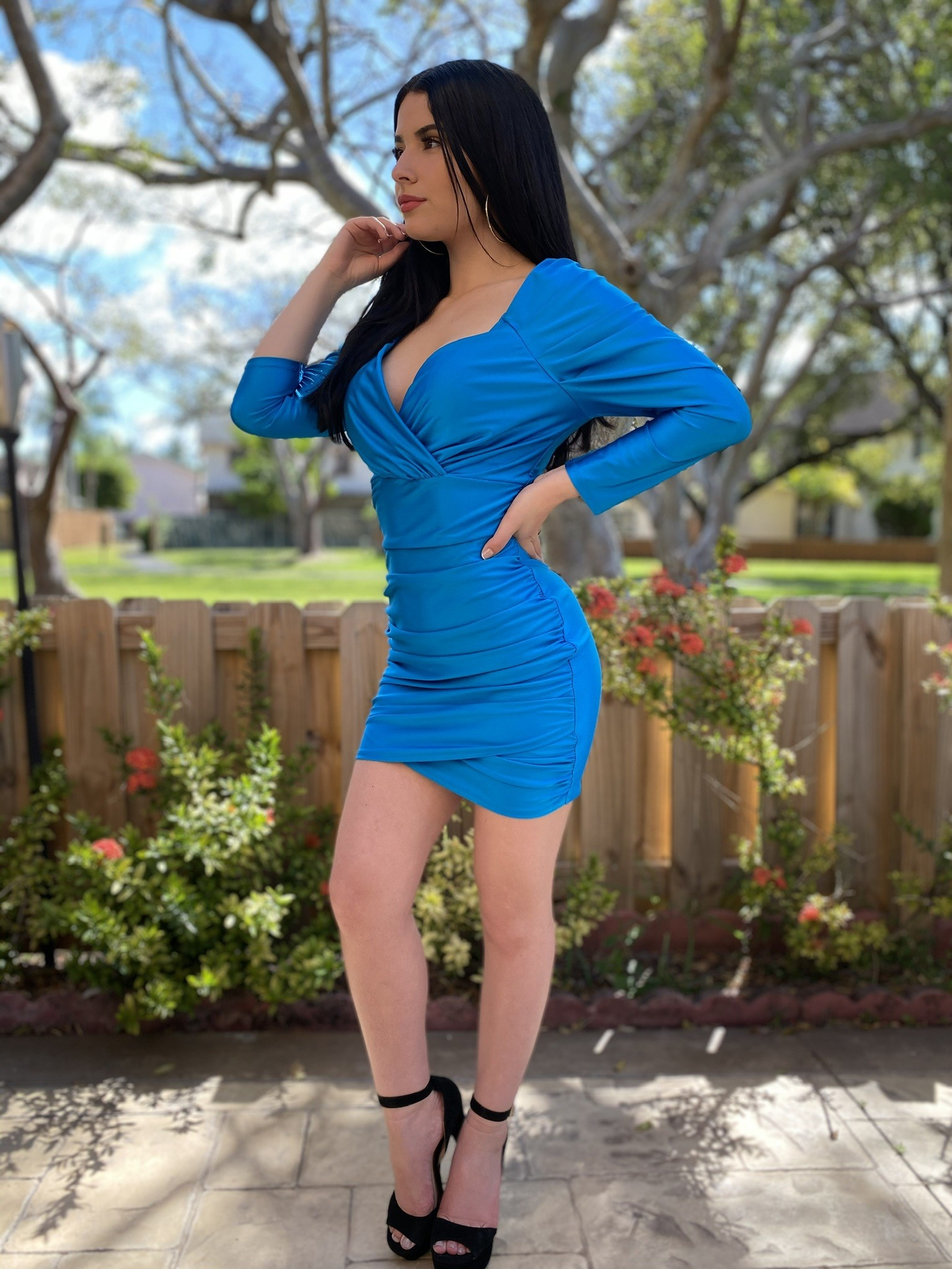 Long Sleeved Draped Sleeved Mini Dress