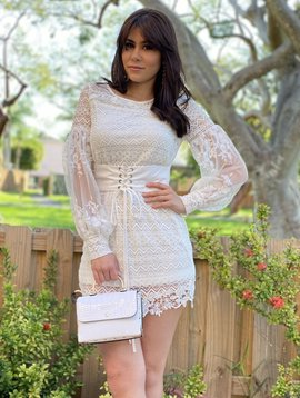 Lace Dress W/ Built In Belt