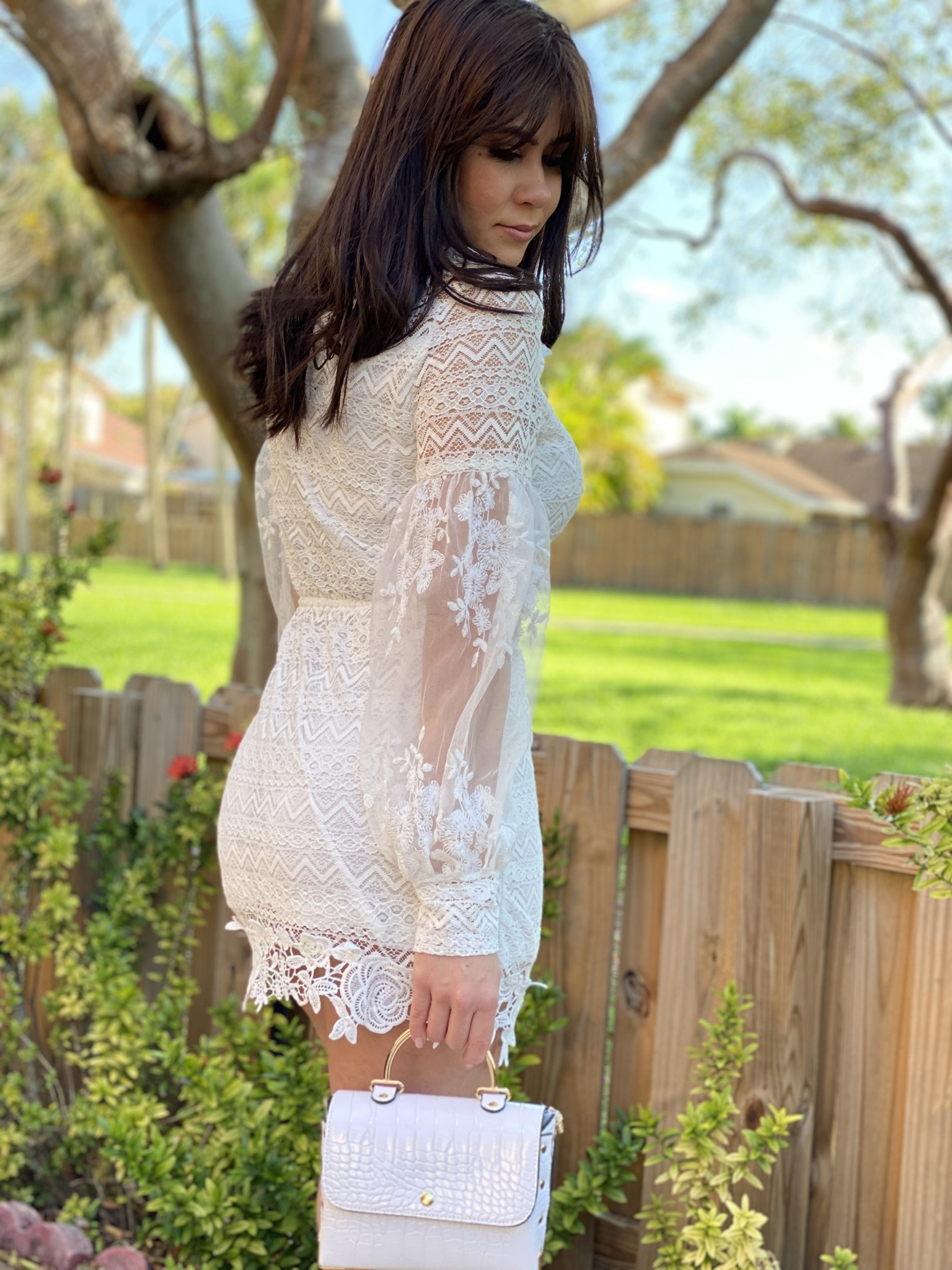 Mini Lace Dress With  Built In Belt