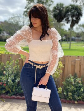 Scrunch Top With Polka Dot Mesh Sleeves