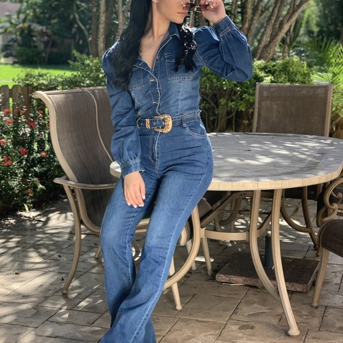 Chic Jeans Jumpsuit With Puff Sleeves