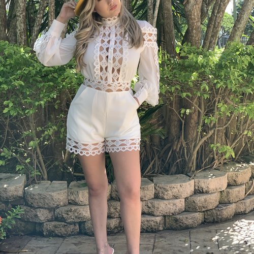 Chic Long sleeve Romper W/  Lace Trim