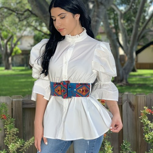 Chic Top 3/4 Puffy Sleeve With Wide Printed Belt