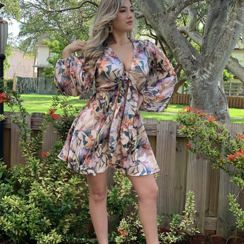 Sexy Fall Floral Print Tie Front Dress