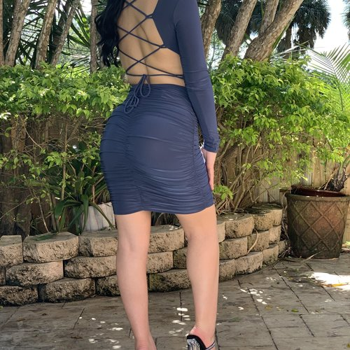 Sexy Crossback Side Ruched Mini Dress