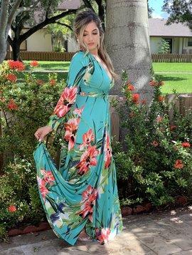 D50121 Floral Long  Dress  Front Slit