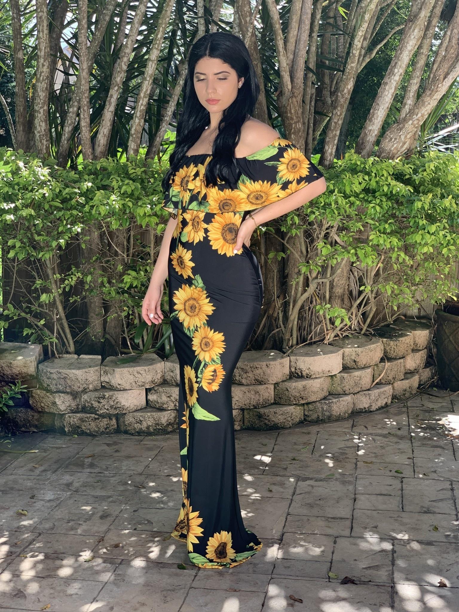 C2389B Off Shoulder SunflowerLong Dress
