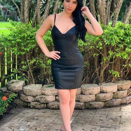 Sexy Leatherette Sexy Mini Dress