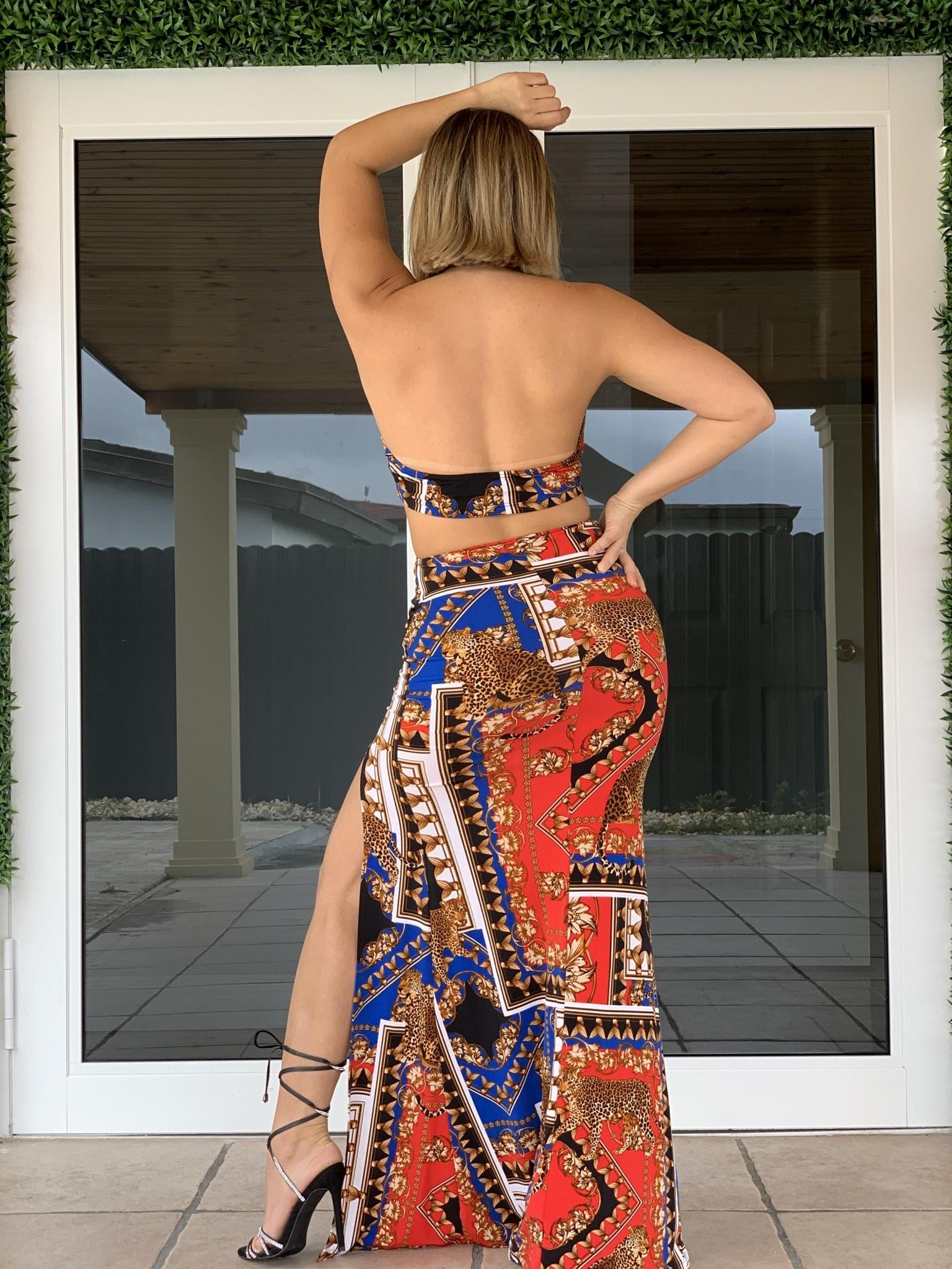 DM25254J Boarder Printed Maxi Dress Halter Top
