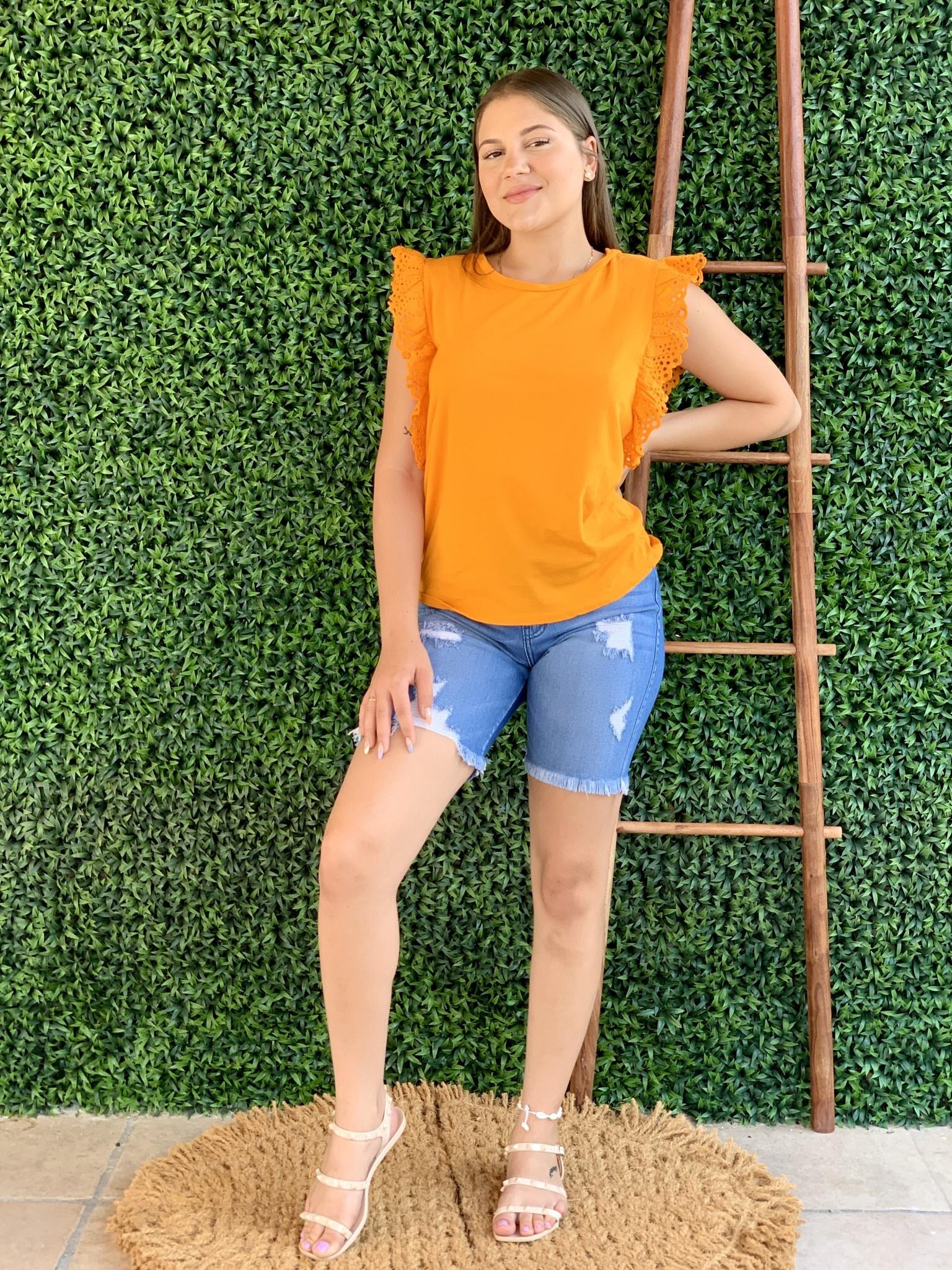 20720175 Italian Cotton T Shirt W/ Ruffle Sleeves