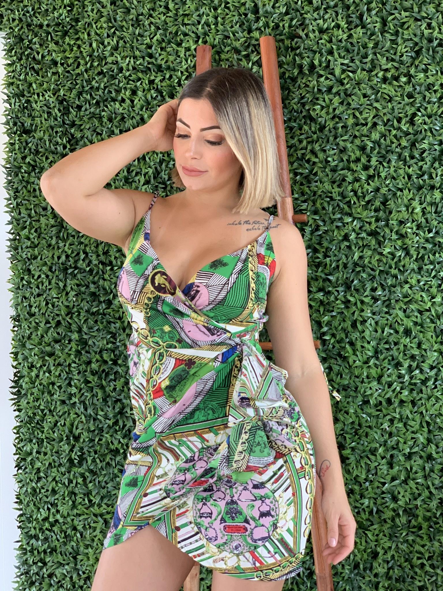 SDC30355 Printed Wrap Dress
