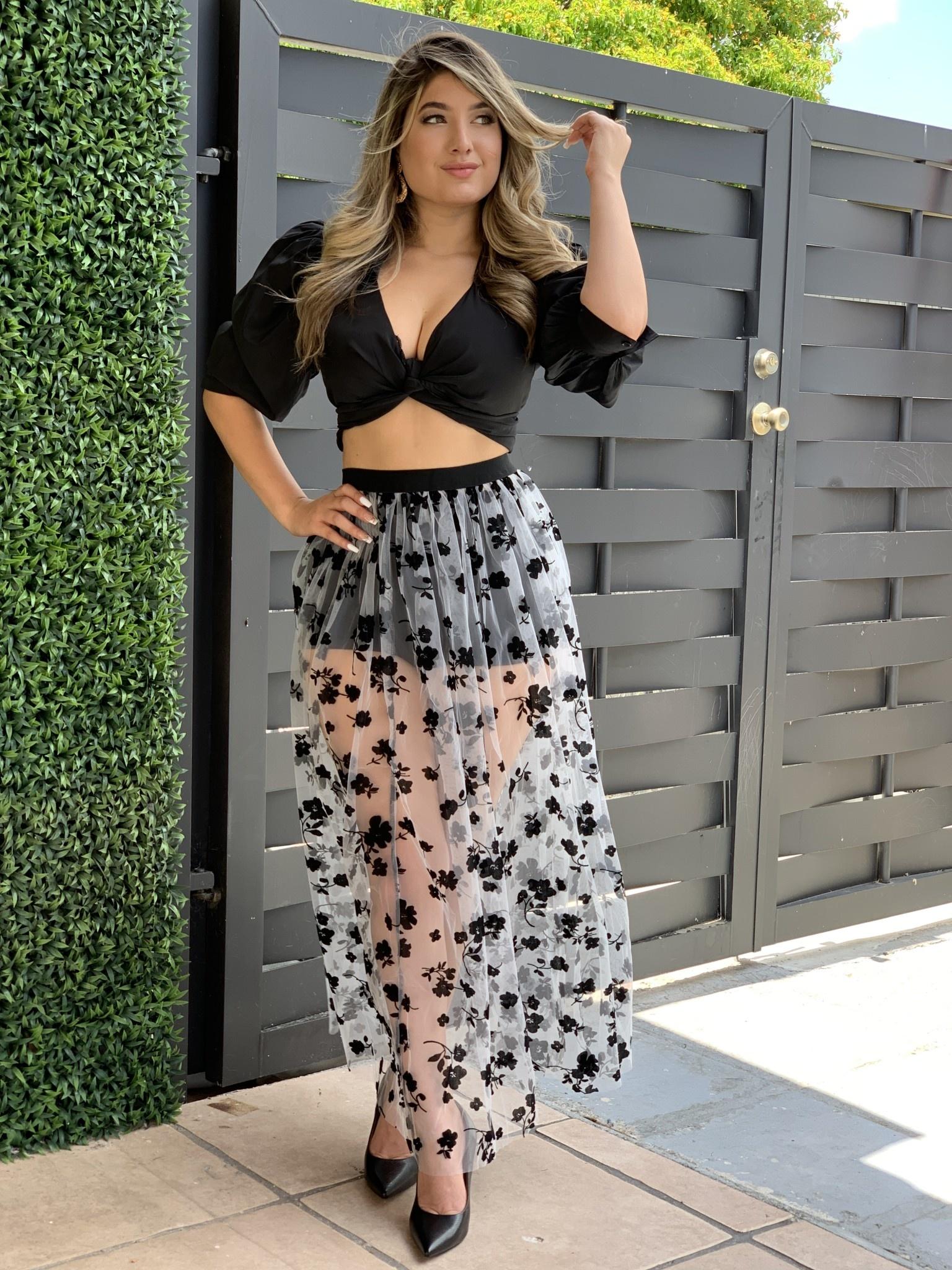 NF10971 High Waist Mesh Cover Up Skirt