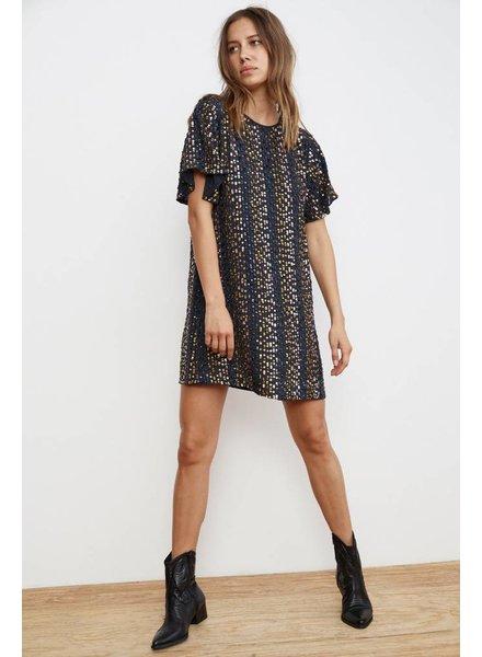 Velvet Stripe Sequins Dress