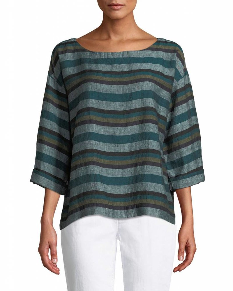 Eileen Fisher Cross Dyed Org. Linen Bateau Nk Top