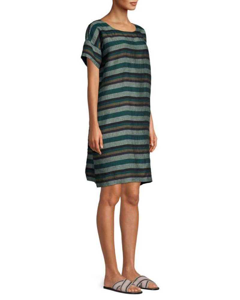 Eileen Fisher Cross Dyed Org. Linen Rnd Nk Dress